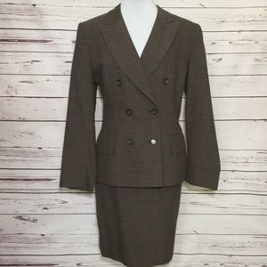 Jones New York Double Breasted Wool Skirt Suit